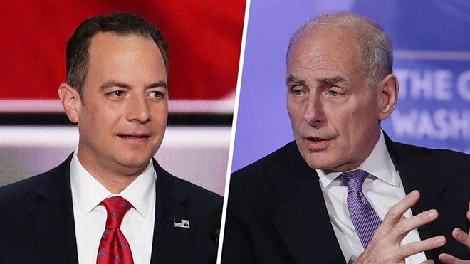 Former Republican National Committee chair Reince Preibus, left, resigned as White House Chief of Staff; retired Marine Corps four-star  Gen. John Kelly, until Friday the Secretary of Homeland Security, is his replacement.