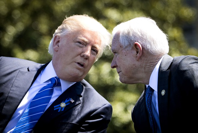 President Trump and Attorney General Jeff Sessions - DOUG MILLS/THE NEW YORK TIMES