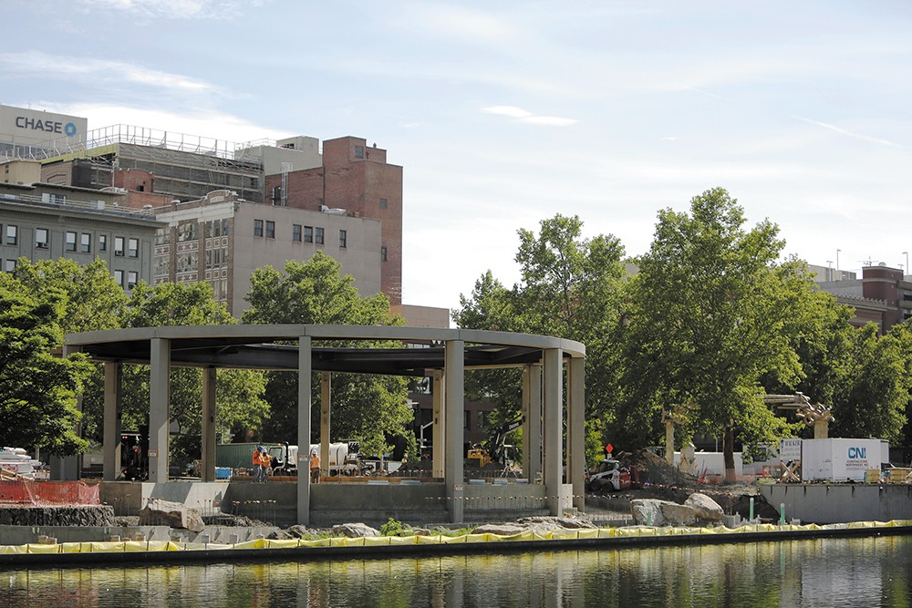 The new Louff Carousel building takes shape at Riverfront Park. - YOUNG KWAK