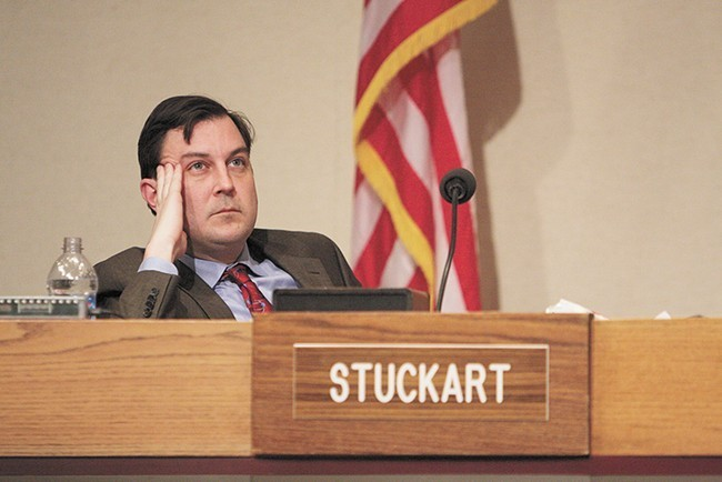 After a controversial decision to spend $150,000 on boulders to discourage homeless camping under I-90, City Council President Ben Stuckart has been caught between angry Spokanites on both sides. - YOUNG KWAK PHOTO