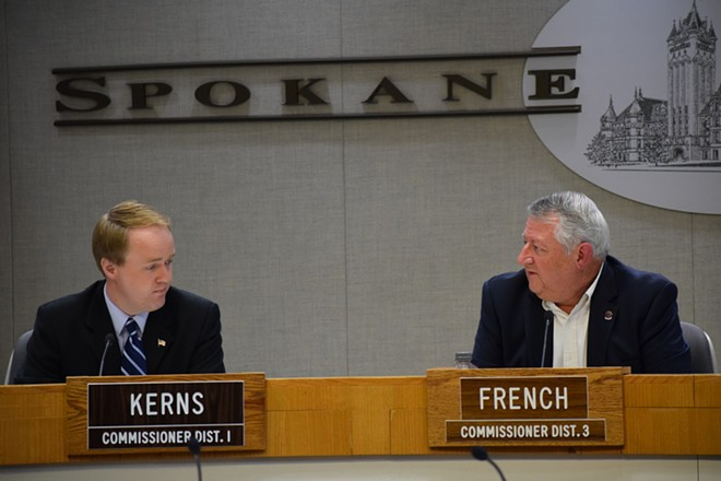 Spokane County Commissioners Josh Kerns and Al French, both Republicans, couldn't choose one of three GOP candidates to fill an open county commissioner vacancy,; the decision will now be made by Democratic Gov. Jay Inslee. - WILSON CRISCIONE PHOTO