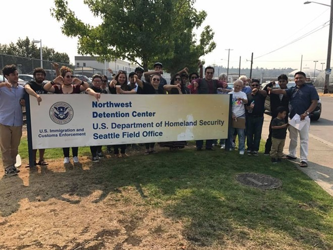 Protestors outside the Northwest Detention Center in Tacoma bring attention to dreadful conditions on the inside. - COURTESY OF THE NWDC RESISTANCE