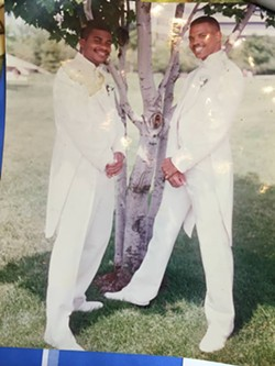 """Me and my brother Chuck (left) 23 years ago - Through thick and thin we will always be brothers to the [very end],"" Eric Smith writes. - COURTESY OF ERIC SMITH"