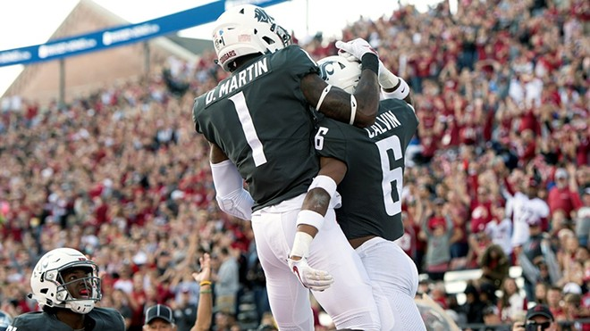Freshman wide receivers Davontavean Martin and Jamire Calvin had plenty to celebrate Saturday at Martin Stadium. - WSU ATHLETICS