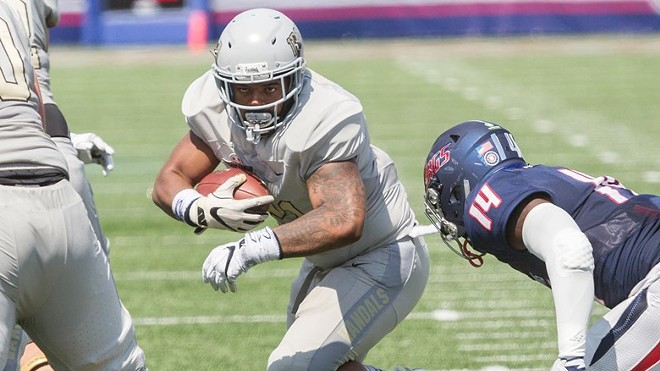 Isaiah Saunders, who scored the game-winning TD in the second overtime, and the Vandals outlasted South Alabama. - U OF I ATHLETICS