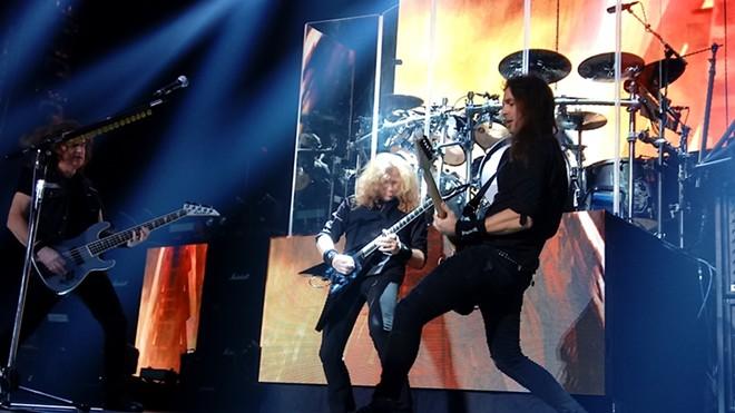 Megadeth's Dave Ellefson (left), Dave Mustaine and Kiko Loureiro - DAN NAILEN