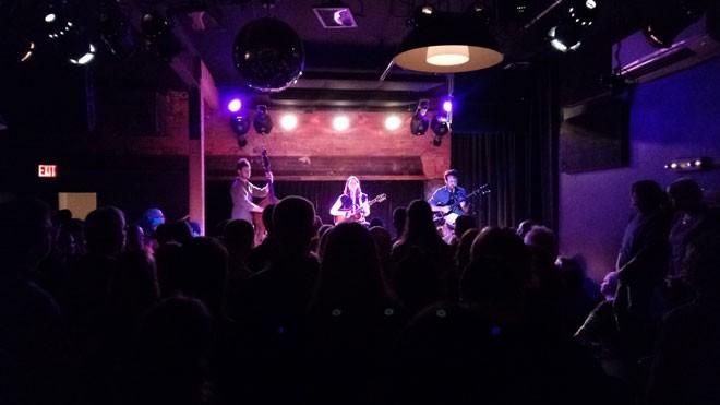 Sarah Jarosz and bandmates Jeff Picker (left) and Anthony da Costa packed the Bartlett on Saturday night. - DAN NAILEN PHOTO