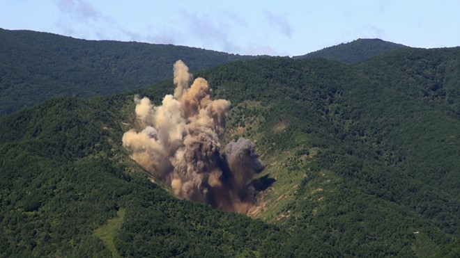 In an undated handout photo, a bomb hits a mock target at the Pilseung Firing Range in Gangwon-do, South Korea. On Tuesday, Aug. 29, 2017, North Korea sent an intermediate-range ballistic missile over the Japanese island of Hokkaido, into a spot in the Western Pacific almost 1,700 miles away, which may have been a more realistic test of the type of missile the nation's leader, Kim Jong-un had threatened to use to strike near the American territory of Guam. - SOUTH KOREAN DEFENSE MINISTRY VIA THE NEW YORK TIMES