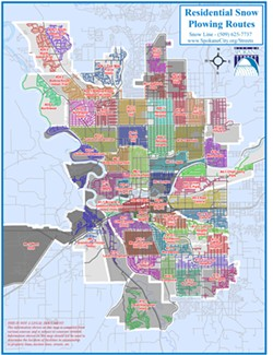 The city's new snowplow map. - CITY OF SPOKANE