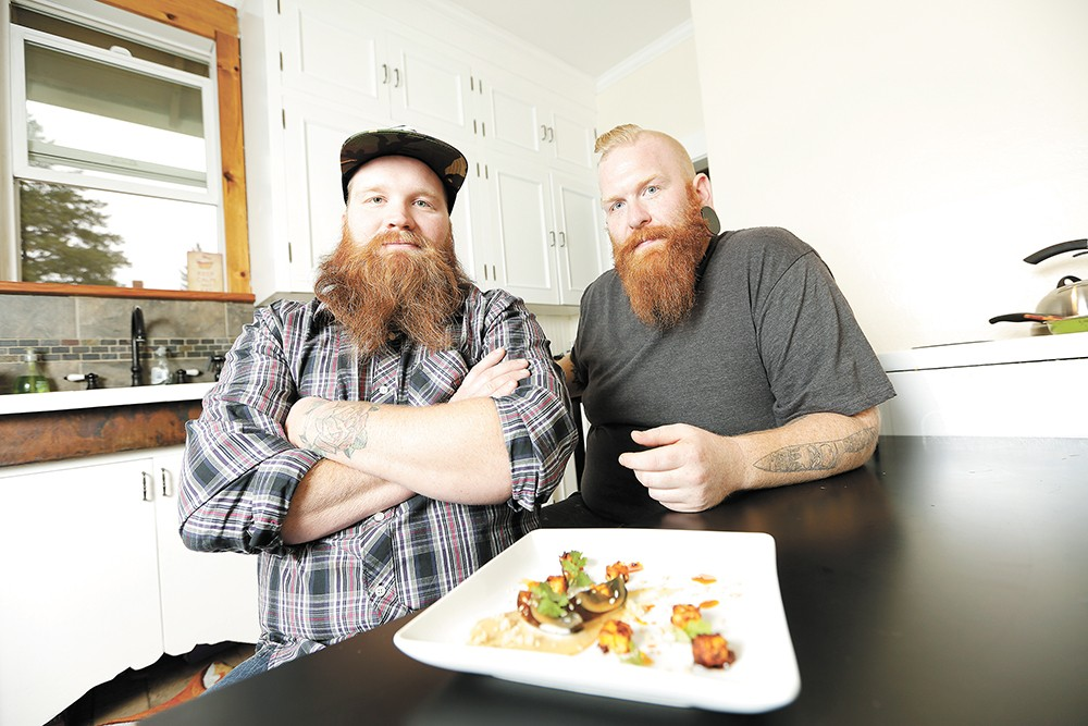 "Chefs Matt Johnson (left) and Kyle ""Freak"" Bowlby take dining to new heights with their cannabis-infused dinner. - YOUNG KWAK"
