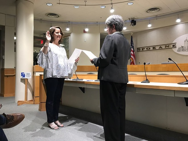 Mary Kuney was sworn in as a Spokane County Commissioner on Friday, Sept. 29. - COURTESY OF SPOKANE COUNTY