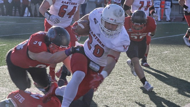 Sam McPherson's 3-yard run gave Eastern a 14-0 first-quarter lead, but the Eagles were outscored  46-14 thereafter. - EWU ATHLETICS