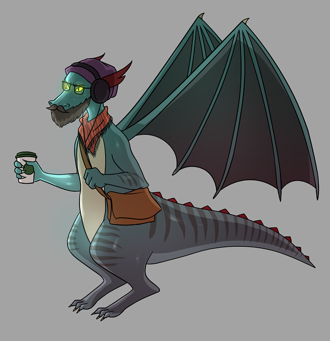 Hipster Dragon is one of the options for game play in That Dragon Card Game, created by local teens. - THAT DRAGON CARD GAME TEAM