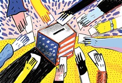 Ideally, this is what Spokane-area ballot drop boxes should look like today. - CALEB WALSH ILLUSTRATION