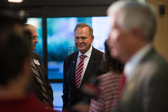 Roy Moore, a Republican candidate for Alabama's open Senate seat, in Homewood, Ala., Aug. 10, 2017. Responding to a Washington Post report alleging that Moore made sexual overtures to four teenagers when he was in his 30s, Senate Republicans moved en masse to distance themselves from Moore almost as soon as the story was posted online on Nov. 9. - KEVIN D. LILES/THE NEW YORK TIMES