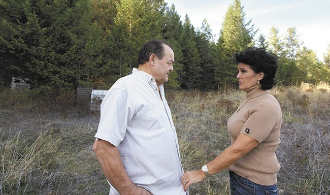 Two members of the so-called Kettle Falls Five: Larry Harvey — who died in 2015 — and his wife, Rhonda Firestack-Harvey, on land where they once grew medical marijuana near Colville. - YOUNG KWAK PHOTO