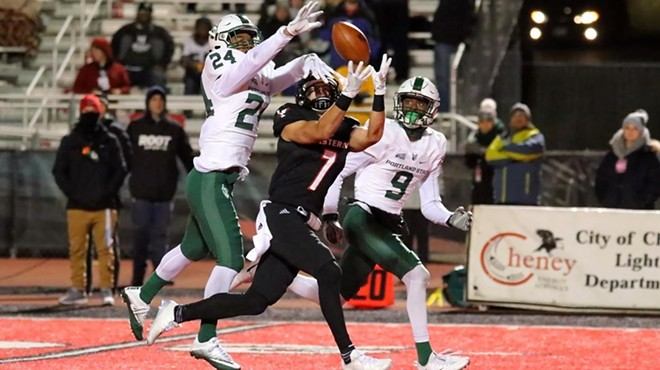 Nic Sblendorio ended his Eastern Washington career with a bang, catching nine of Gage Gubrud's passes for 273 yards, including touchdwns of 60 and 74 yards, Saturday in Cheney as the Eagles soared past Portland State 59-33. - EWU ATHLETICS