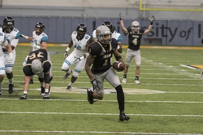 Alfonso Onunwor's 18-yard touchdown catch was the lone bright spot in the Vandals' 13-7 loss to Coastal Carolina. - U OF I ATHLETICS