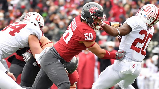 Junior defensive tackle Hercules Mata'afa, driving Stanford's Bryce Love backward, leads a resurgent Washington State defense with 21½ tackles for loss and 9½ sacks; he's recorded multiple tackles for loss in eight of 11 games. - WSU ATHLETICS