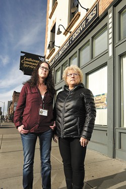 "Advocates Carol Ulland (left) and Shannon Kapek help people in crisis. ""They need to be believed,"" says Kapek. - YOUNG KWAK"