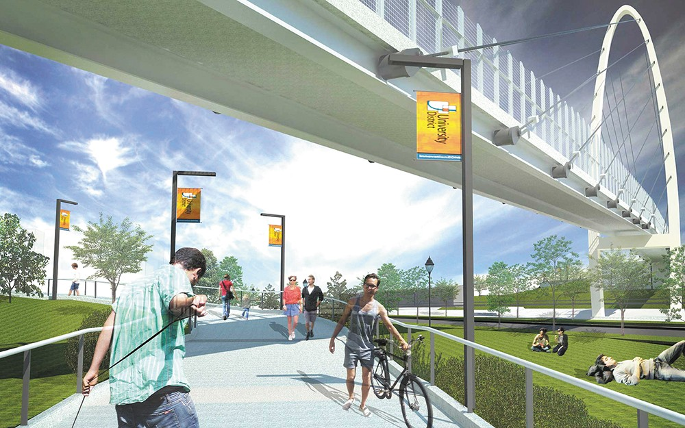 The Gateway Bridge is expected to open in September 2018. The Catalyst project (inset) aims to bring more health care businesses to the University District.