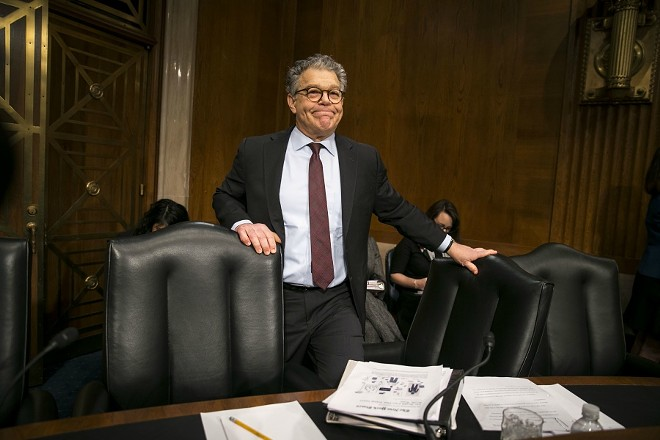 Sen. Al Franken (D-Minn.) arrives for a hearing on Capitol Hill in Washington, Nov. 29, 2017. A half-dozen Democratic senators, all women, called for Franken's resignation on Dec. 6 after a sixth woman came forward to charge that he had made an improper advance on her. - AL DRAGO/THE NEW YORK TIMES