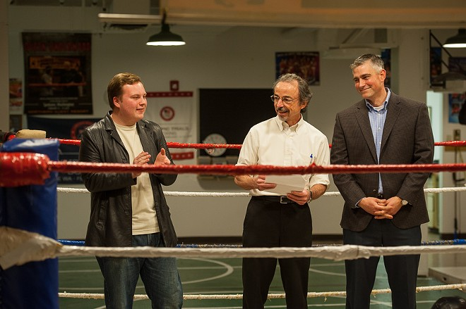 Then-Rogers High School student James Pearson faces off against Washington state Sen. Michael Baumgartner in 2016. Former Spokesman-Review editorial page editor Bert Caldwell is stuck in the middle. - PHOTO COURTESY OF HAMILTON STUDIO