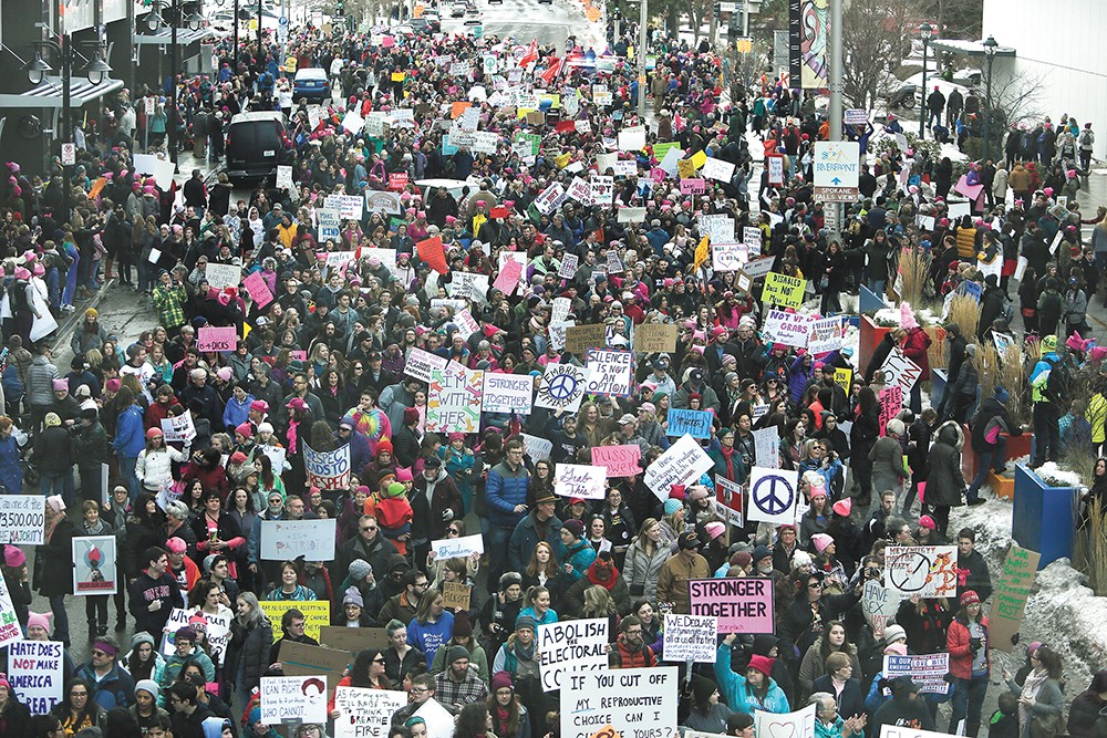 Last year's Women's March drew thousands to downtown Spokane. - YOUNG KWAK