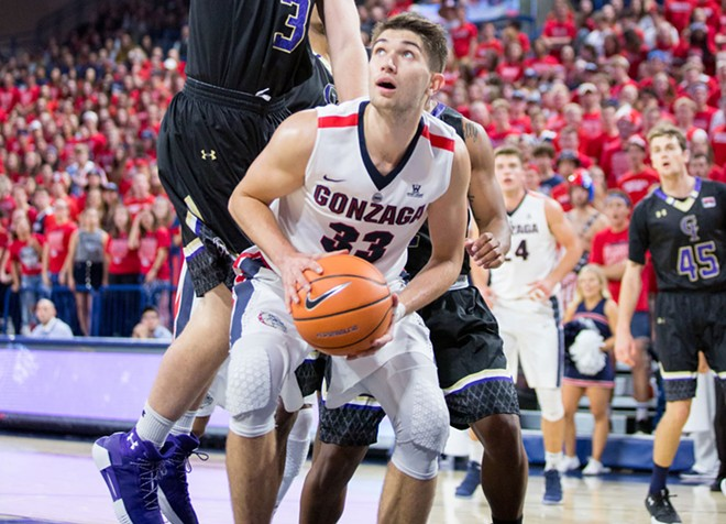"Killian Tillie and his fellow ""bigs"" are vital to the Zags success this season. - LIBBY KAMROWSKI"