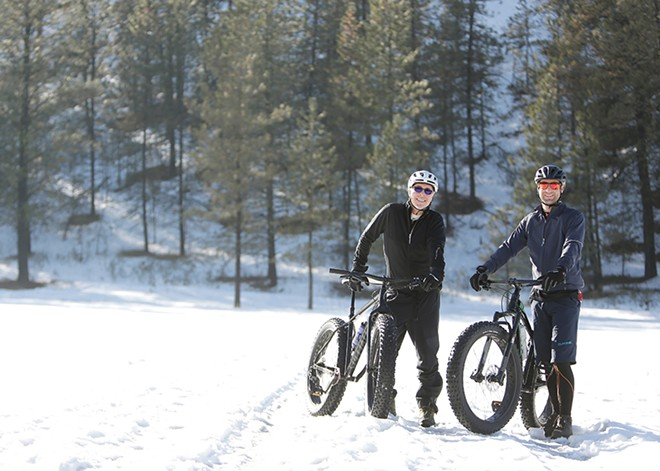 Greg Britton (left) with a Specialized Fatboy and Trent Armstrong with a Salsa Mukluk at the 7 Mile area of Riverside State Park. - YOUNG KWAK