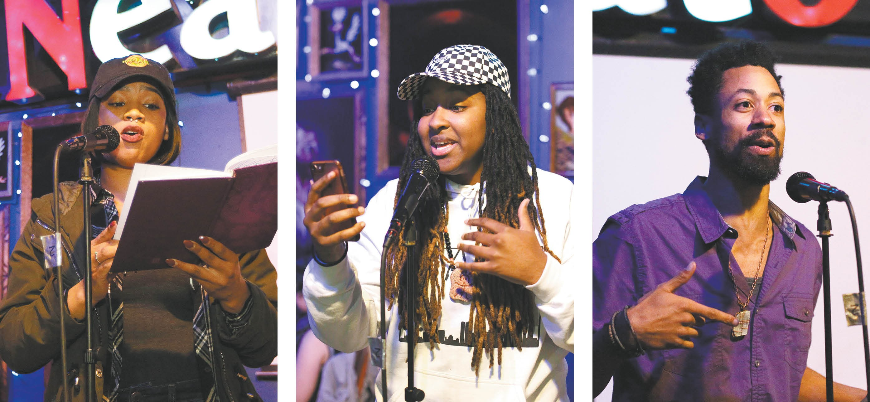The founders of Power 2 the Poetry (from left: Lynn'Marie White, Bethany Montgomery and AJ McKinney) take advantage of every open mic they can find. - YOUNG KWAK