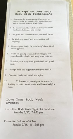 A list of ways to love your body that Helen Schantz and her dad compiled.
