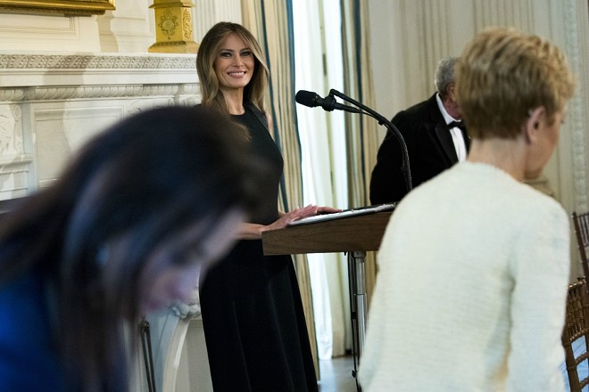 First lady Melania Trump delivers remarks in the State Dining Room for an International Women's Day luncheon at the White House in Washington, March 8, 2017. - DOUG MILLS/THE NEW YORK TIMES