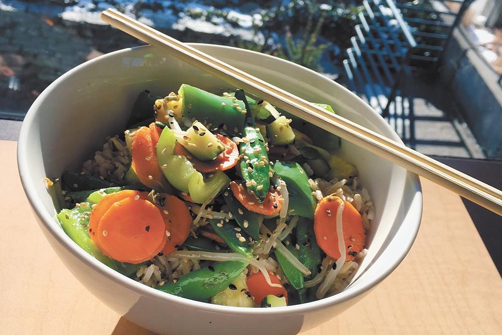 Momo's gluten-free teriyaki bowl. - CARRIE SCOZZARO