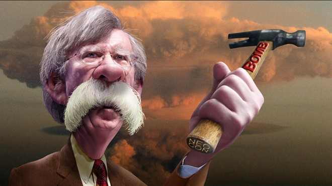 Illustration of John Bolton. In real life, his mustache is larger.