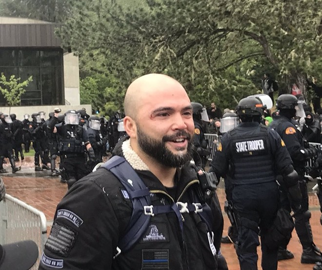 Supreme Court decisions mean that the cities generally can't charge controversial figures, such as Washington Senate candidate Joey Gibson, more money because they might attract violent protesters. - MIKE BIVINS PHOTO