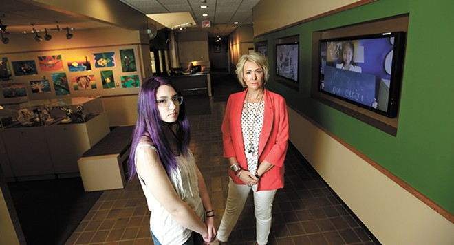 Rogers High School junior Jackee Smith (left) and Spokane Public Schools' student services coordinator Chris Moore want to raise awareness about youth suicide. - YOUNG KWAK