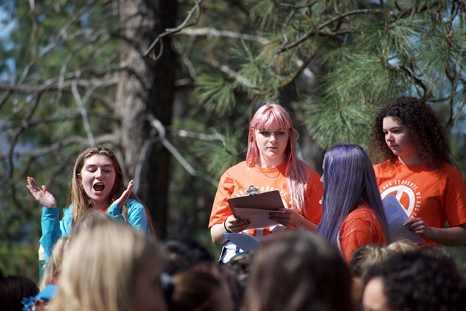 Marissa Kenney (left) Shaundra Russell and Dharma Hoy (right) helped organize a local walkout - WILSON CRISCIONE