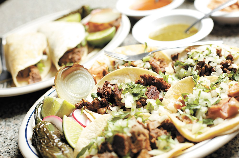 Street tacos are $1.50 or $2.50 on Tuesdays at La Michoacana. - YOUNG KWAK