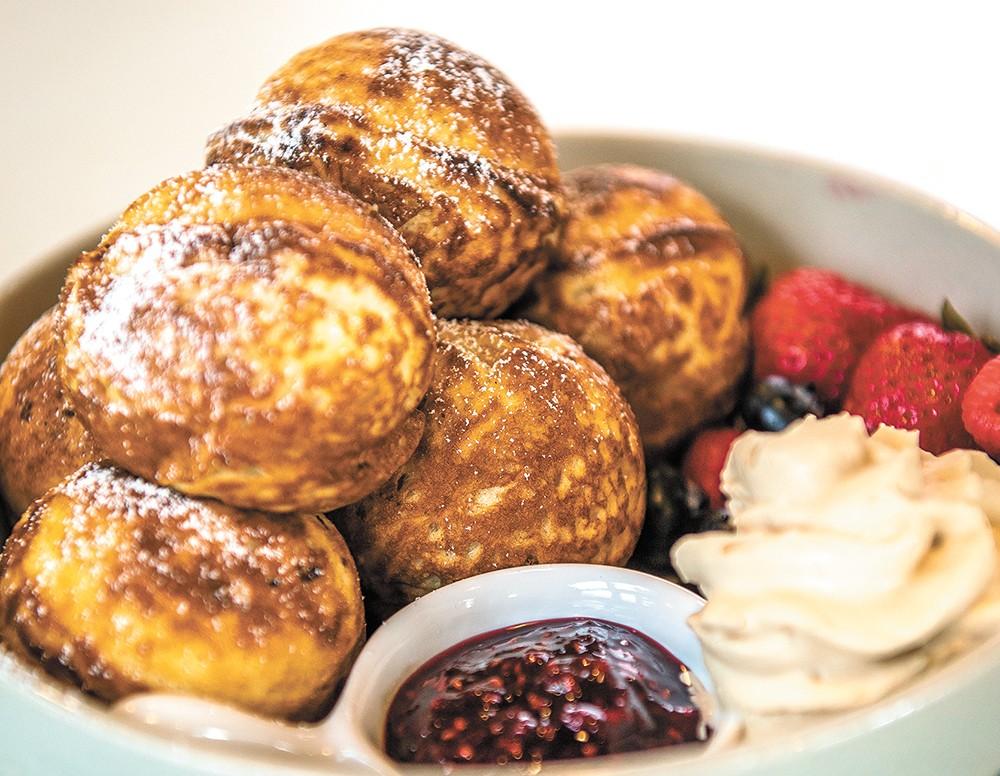 Brunchkin's signature æbleskiver pancakes. - ERICK DOXEY PHOTO