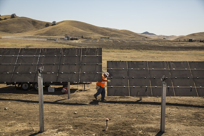 A solar farm near Cholame, California, Aug. 18, 2016. The California Energy Commission is expected to approve changes to the building code on May 9, 2018, that will require solar panels on all new homes by 2020, putting the state even farther in the forefront in the use of solar power. - ANDREW BURTON/THE NEW YORK TIMES