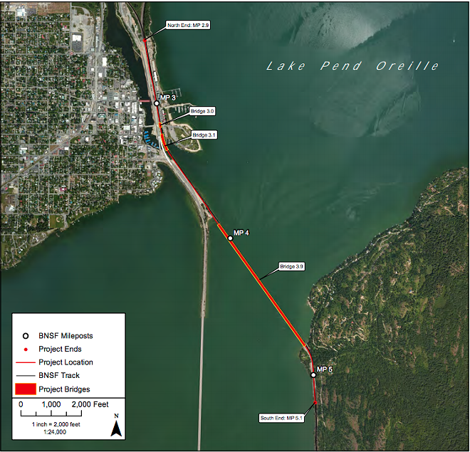 This map, provided as part of BNSF's Sandpoint Junction Connector application to Idaho's departments of Water Resources and Lands, and the Army Corps of Engineers, shows the stretches where rail currently crosses Lake Pend Oreille, Sand Creek, and Bridge Street. At each of those three spots, the railroad is requesting to add a second track. - BNSF/JACOBS ENGINEERING