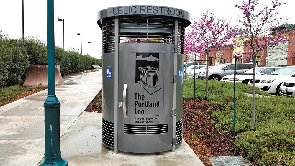 """Cities across the country have purchased the """"Portland Loo,"""" a restroom building specifically designed to withstand the rigors of an urban setting."""