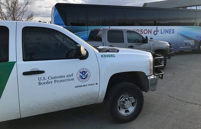 A U.S. Customs and Border Protection truck parks outside the Intermodal Center on March 18, 2018. - PHOTO COURTESY OF DAVID BROOKBANK