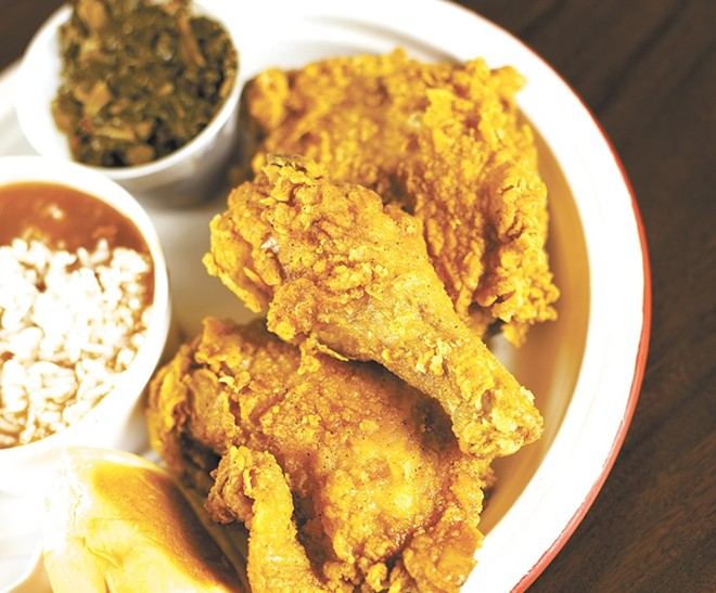 Chkn-N-Mo's fried chicken with red beans and collard greens.