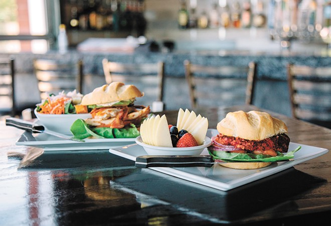 Cascadia caters to both omnivores and vegans; the bean-and-beet burger and the chicken sandwich are pictured. - JENNIFER DEBARROS