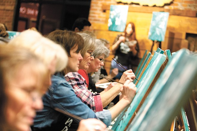 Students channel their inner artist at Pinot's Palette. - YOUNG KWAK