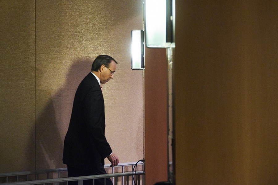 Deputy Attorney General Rod Rosenstein arrives to a news conference at the Justice Department in Washington, July 13, 2018. Rosenstein on Friday announced new charges against 12 Russian intelligence officers accused of hacking the Democratic National Committee and the Clinton presidential campaign. The announcement came just a few days before President Donald Trump is expected to meet with President Vladimir Putin of Russia in Finland. - T.J. KIRKPATRICK/THE NEW YORK TIMES