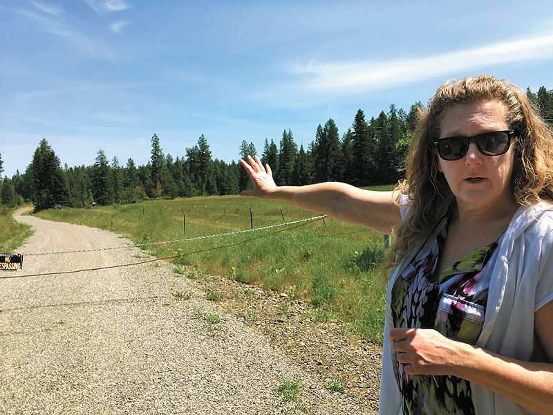Chris Greenfield stands in front of a road she says never should have been built on her family's property. - SAMANTHA WOHLFEIL PHOTO