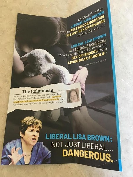 The latest mailer includes a picture of a high-risk, repeat sex offender, that Brown supposedly supported releasing from supervision. - CATHY MCMORRIS RODGERS MAILER